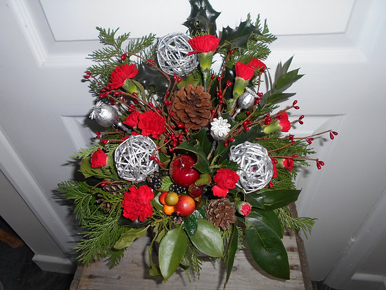 Red and silver Christmas arrangement