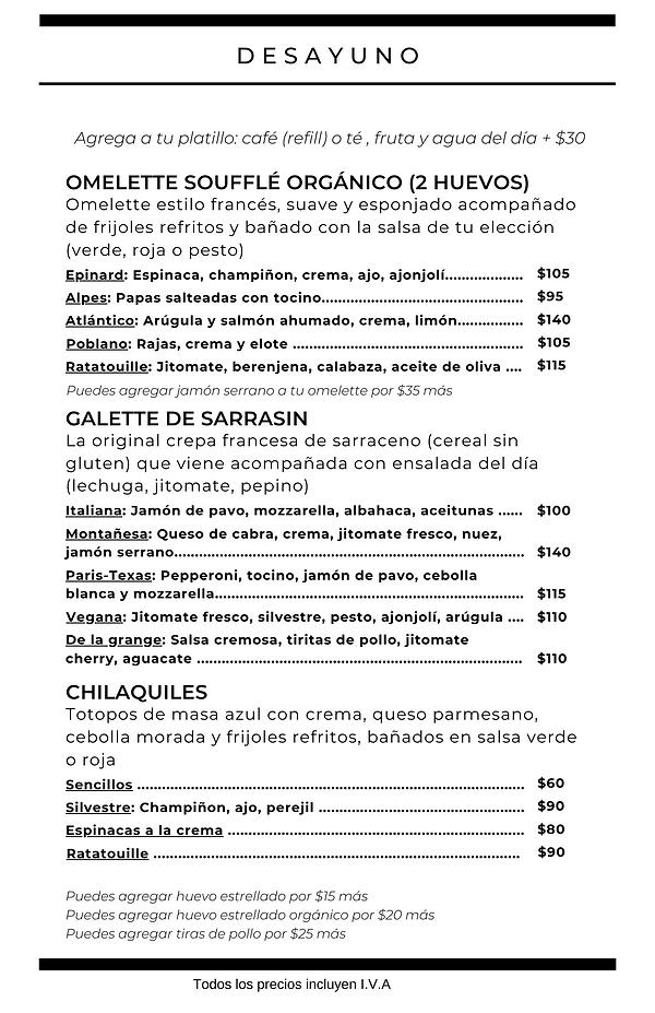 Menú desayuno Coyoacán Omelette soufflé galette de sarrasin chilaquiles