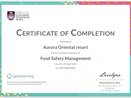 New food safety accomplishments in Aurora Oriental Resort Sharm El Sheikh