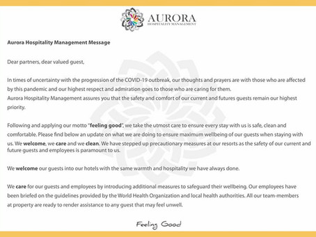 A message to our valued guests and partners.