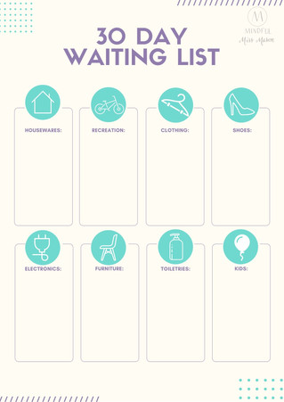 30 day waiting shopping list