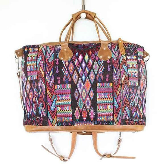 Convertible Weekender Bag - Vintage Embroidered Fabric + Leather