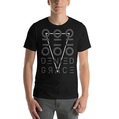 Black Short-Sleeve Unisex Downward T-Shirt