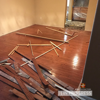 In progress wood flooring remodeling pro