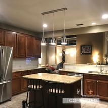 Kitchen, lighting, paint, and backsplash
