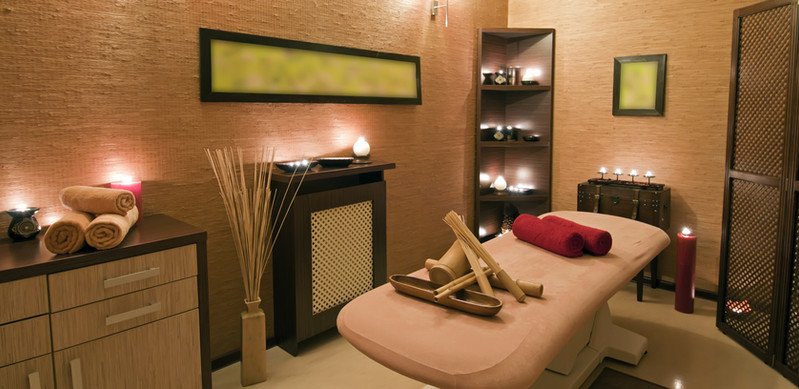 Panoramic view of the nice massage room