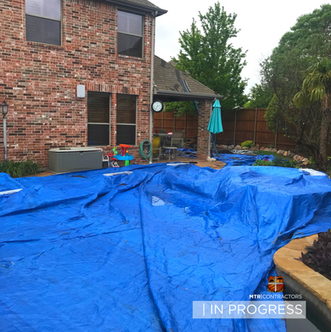In progress roofing job in Allen, TX by
