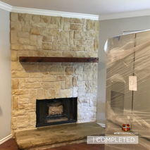Stone fireplace remodel in frisco texas.