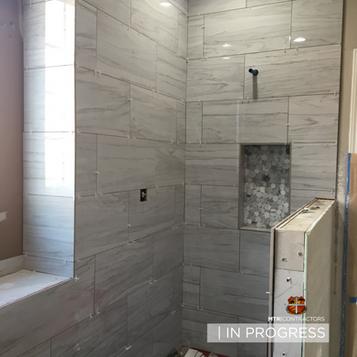 In progress shower in master bath remode