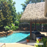 Thatch cabana and tiki bar in north dall