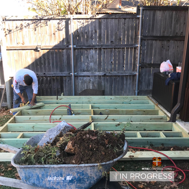 Building wood deck for patio in frisco t