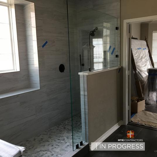In progress frameless glass shower remod