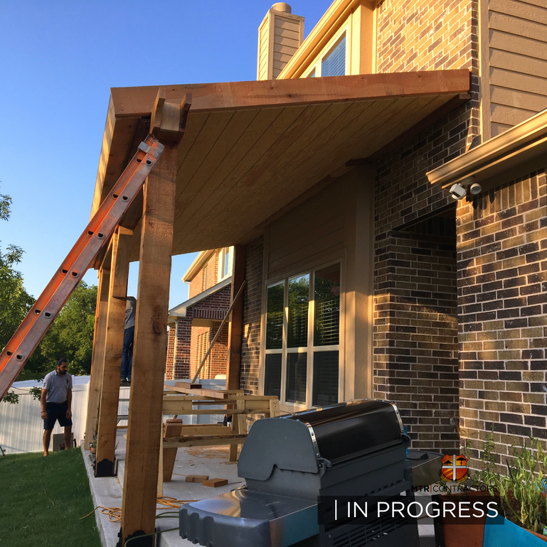 Building a cedar roof addition in frisco