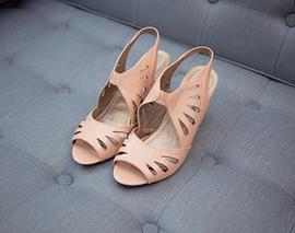 Apricot cutout high heels top view