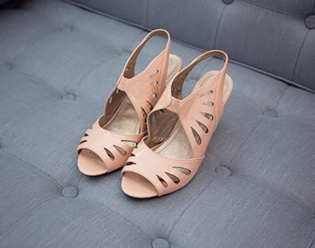 Apricot cutout high heels top view