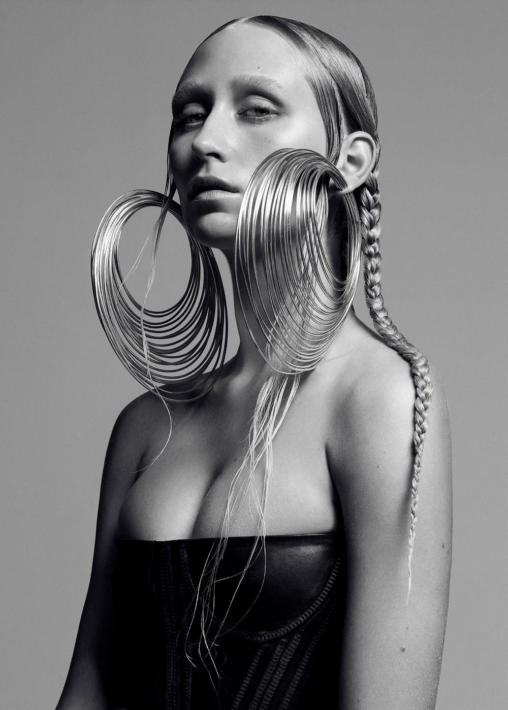 Silver Coiled Hoop Earrings by Shaun Leane. Leather corset vintage Diesel