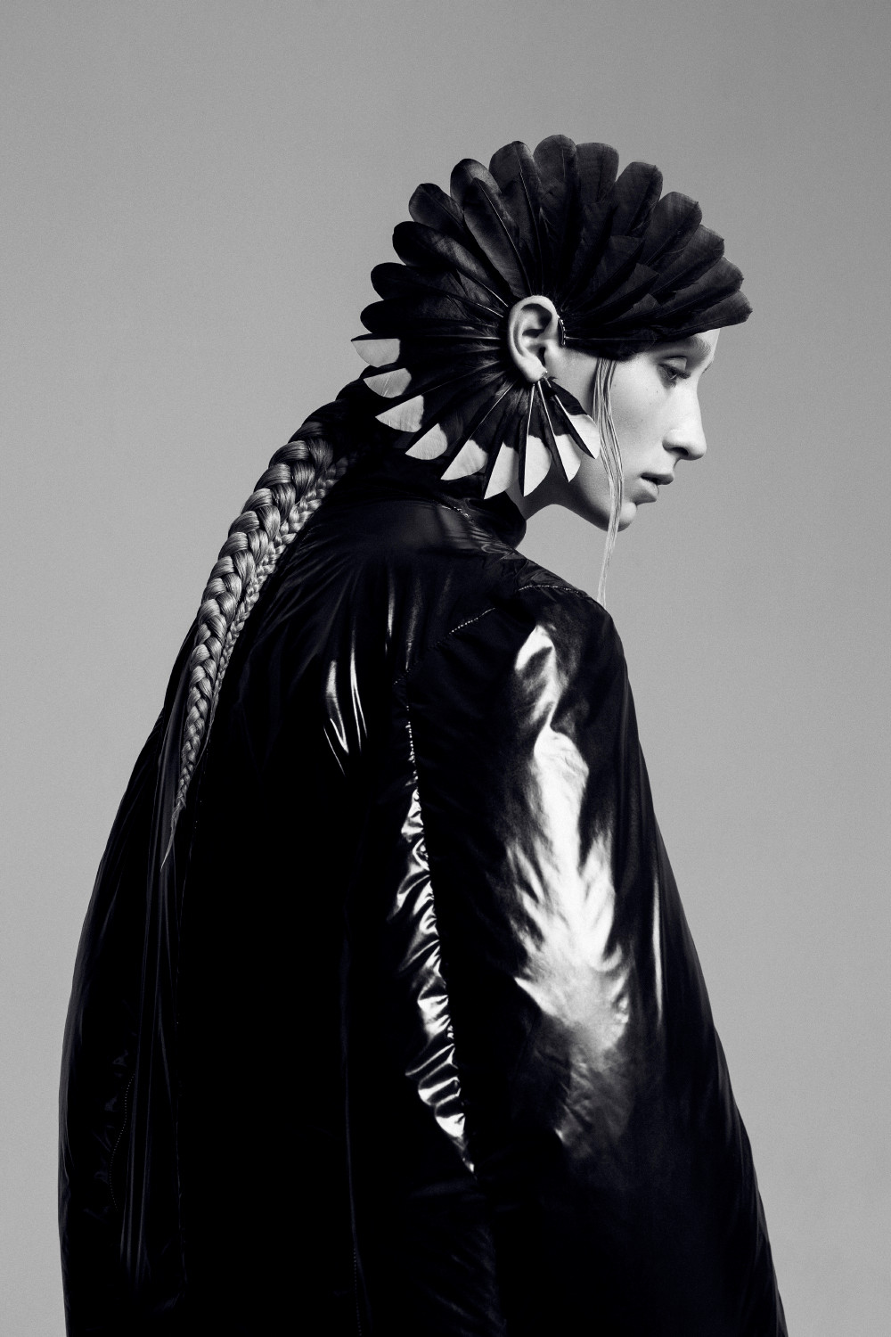 Couture Feather Fan Earrings by Shaun Leane. Nylon puffa dress by Toga Archives
