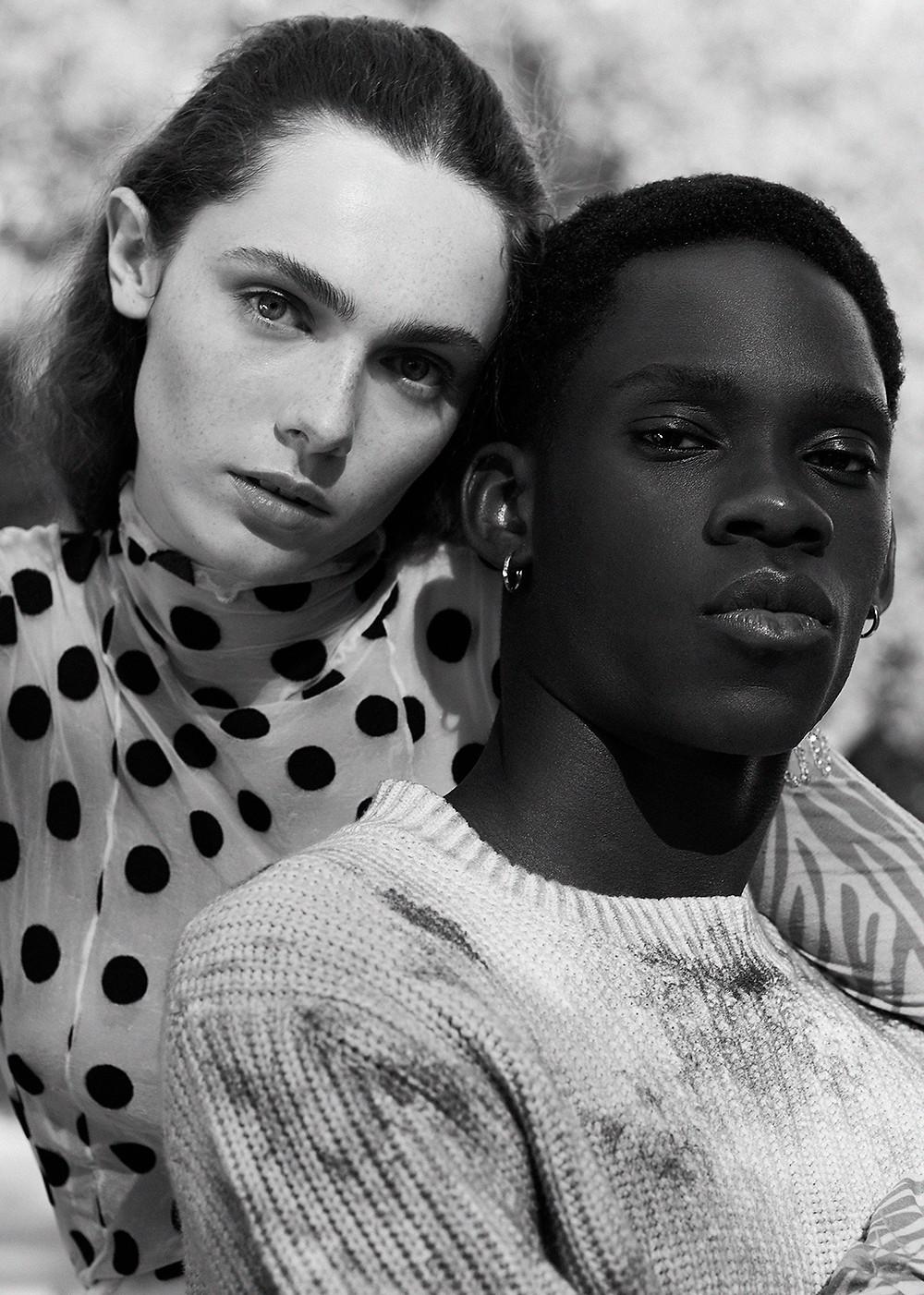 Sophia wears top by Foam of the Days. Amadou wears jumper by Scotch & Soda.