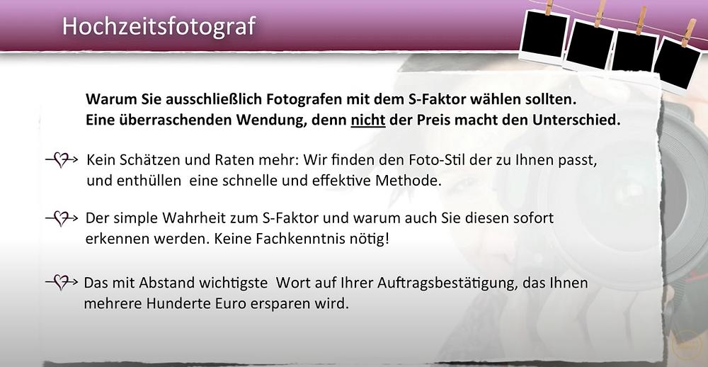 Das größte Problem, wenn es um die Auswahl des Hochzeitsfotografen geht  - und das merke ich in sehr vielen Hochzeitsbesprechungen - ist immer wieder, dass viele Brautpaare glauben, das kann doch auch Onkel Ludwig mit seiner neuen Digitalkamera machen und günstig wäre es auch.
