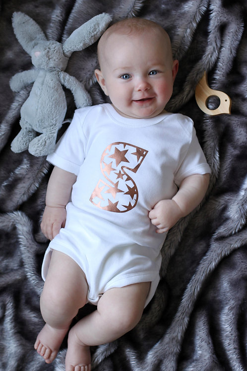 Pick your own print initial personalised babygro
