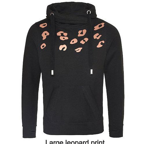 Black cross-necked ladies hoody