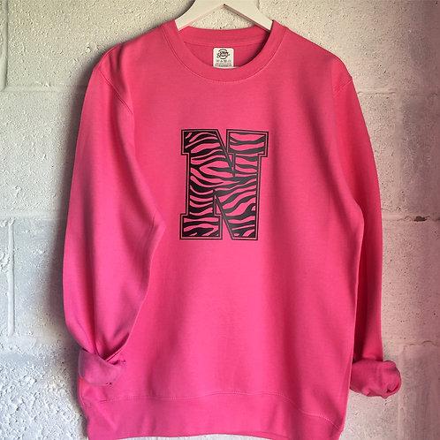 Hot pink animal print personalised sweatshirt