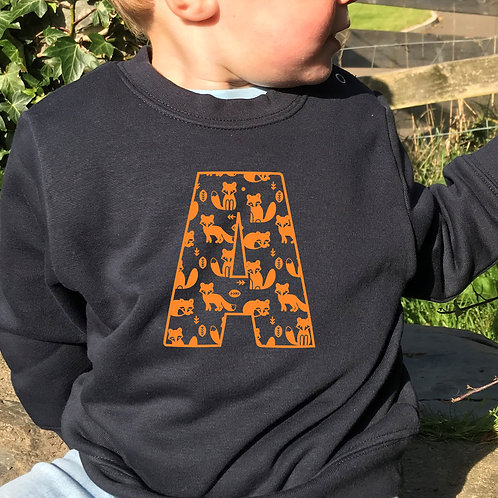 Toddler's initial pick your own print personalised sweatshirt