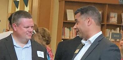Library Director Derek Wolfgram and Redwood City Mayor Ian Bain