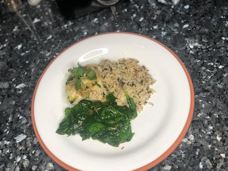 Pan Seared Halibut with Sautéed Spinach and Rice
