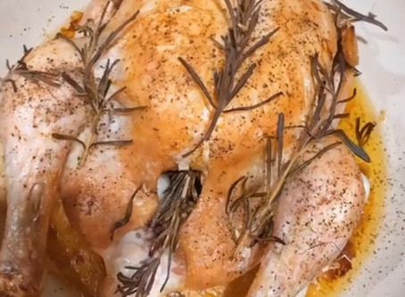 Yummy Roasted Chicken with Roasted Garlic Cloves