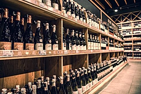 Wine bottles on shelves