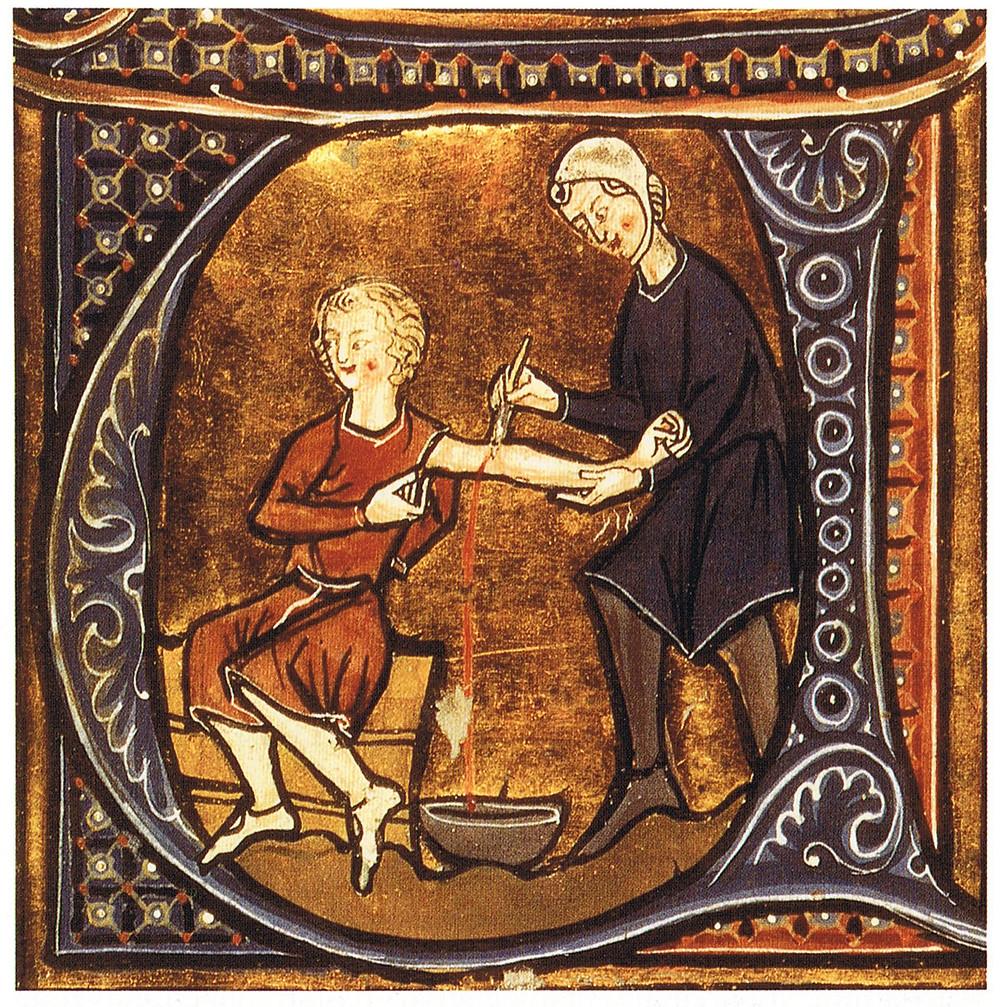 Salasso praticato da un medico nel Medioevo