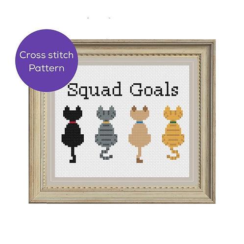 Cat Squad Goals Cross Stitch Patterns