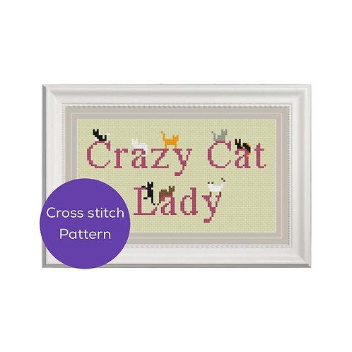 Crazy Cat Lady Cross Stitch Pattern