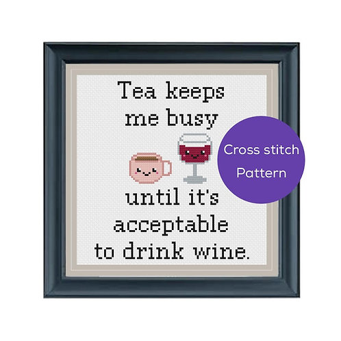 Tea/Wine Cross Stitch Pattern