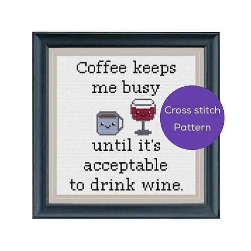 Coffee/Wine Cross Stitch Pattern