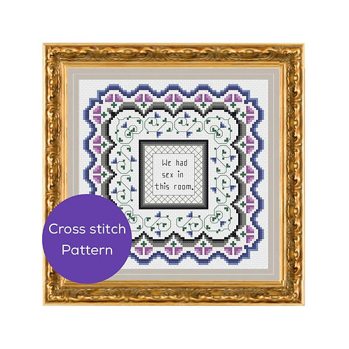 We Had Sex in This Room Cross Stitch Pattern