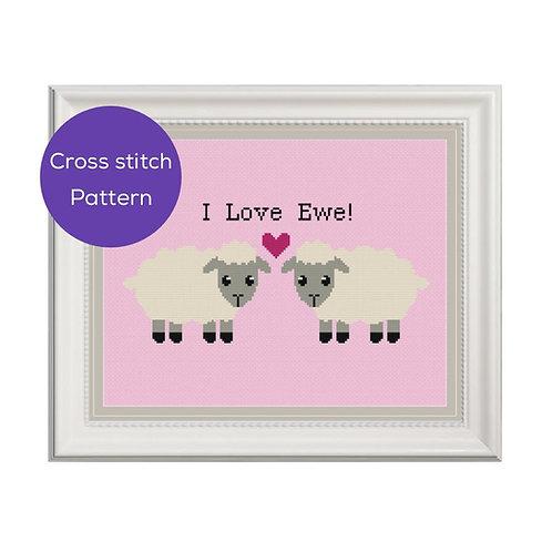 I Love Ewe Cross Stitch Pattern