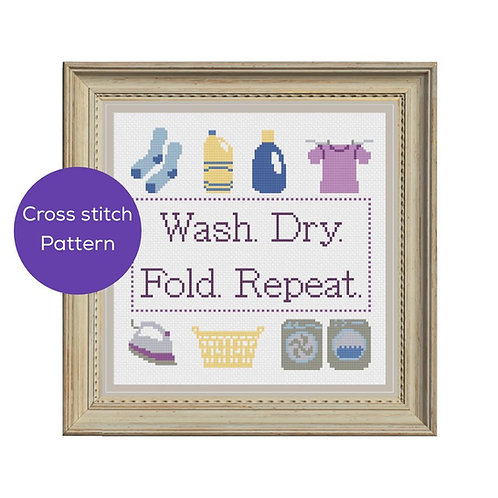 Laundry Cross Stitch Pattern