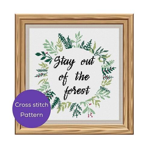 Stay Out of the Forest Cross Stitch Pattern