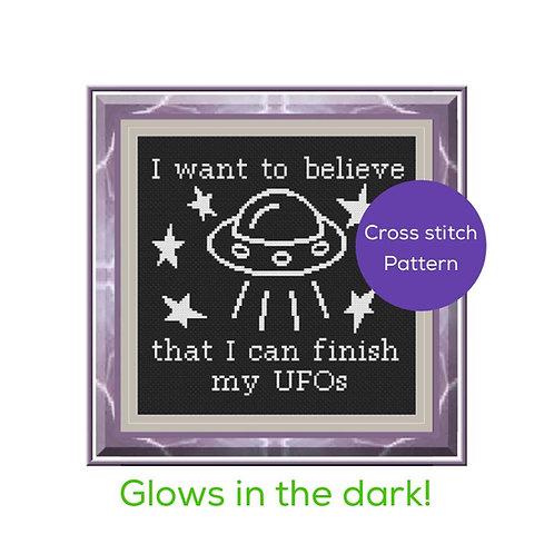 Glow in the Dark UFOs Cross Stitch Pattern