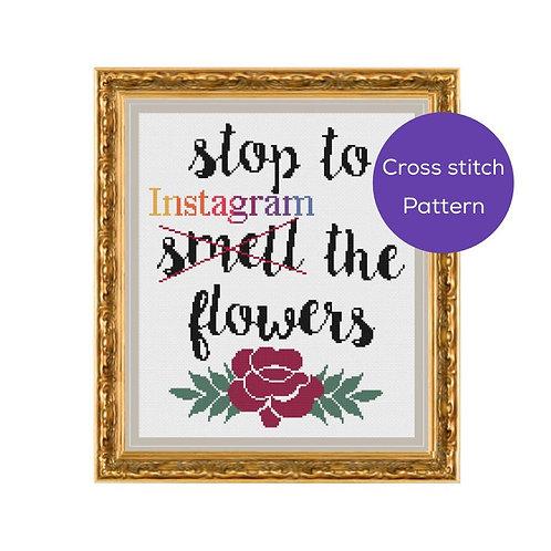 Instagram the Flowers Cross Stitch Pattern