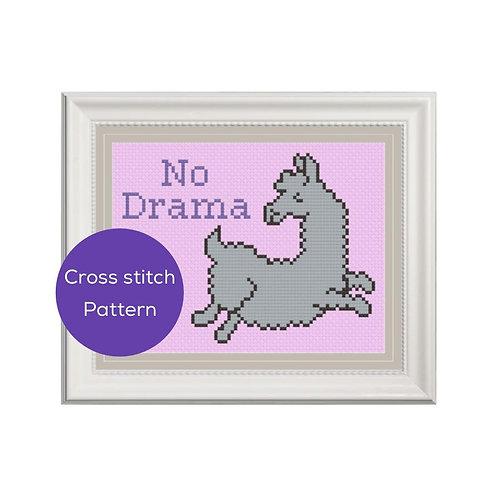 No Drama Llama Cross Stitch Pattern