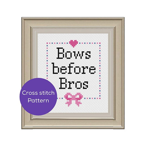 Bows Before Bros Cross-Stitch Pattern