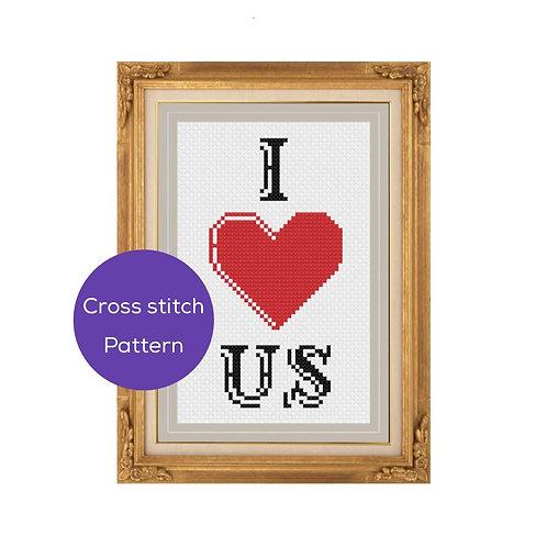 I Heart Us Cross Stitch Pattern