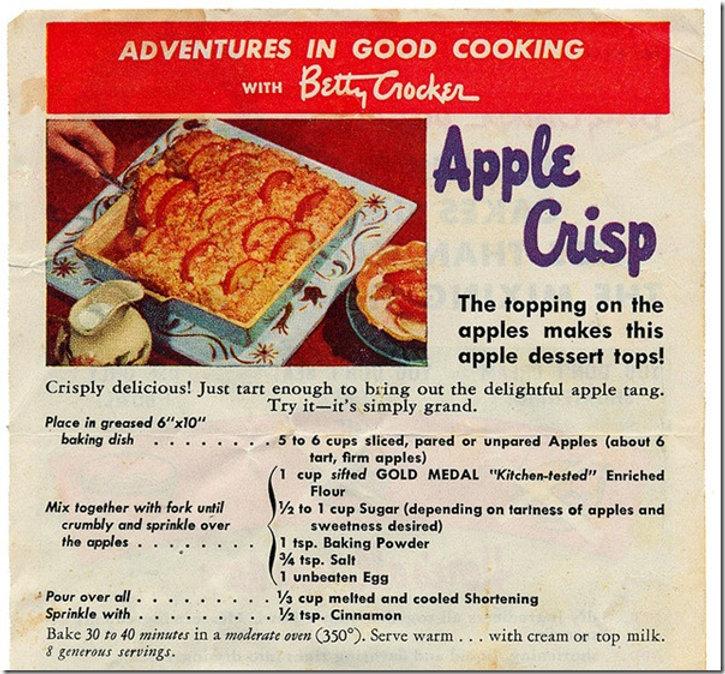 Vintage Berry Crocker Apple Crisp recipe