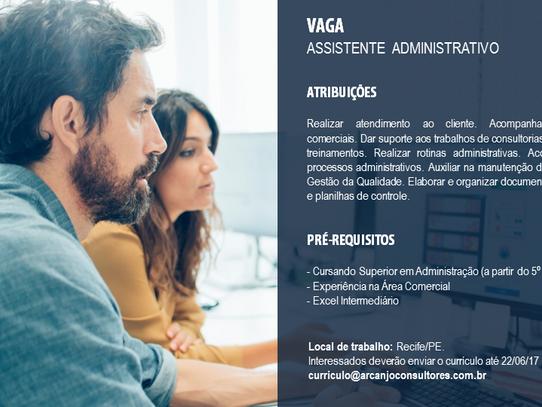 Vaga de emprego: Assistente Administrativo - Recife/PE
