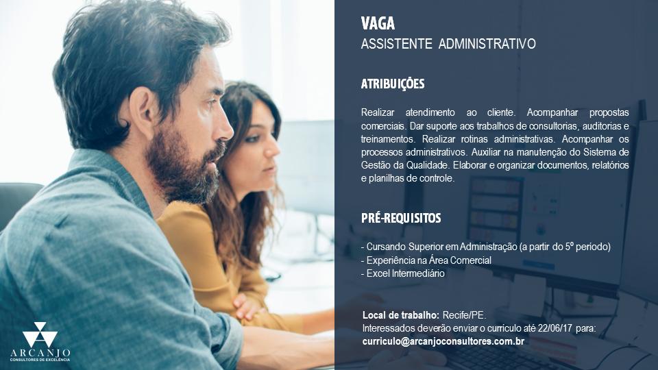 Vaga: Assistente Administrativo - Recife -PE