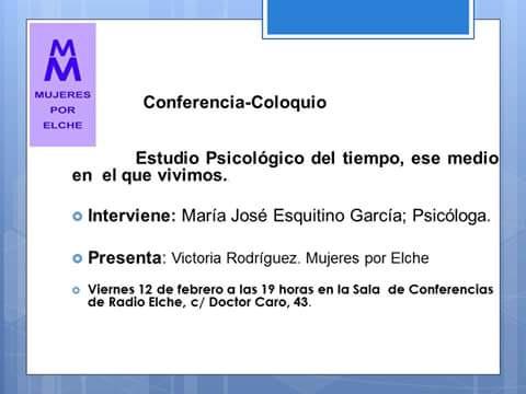 Conferencia coloquio Mujeres por Elche estudio psicológico