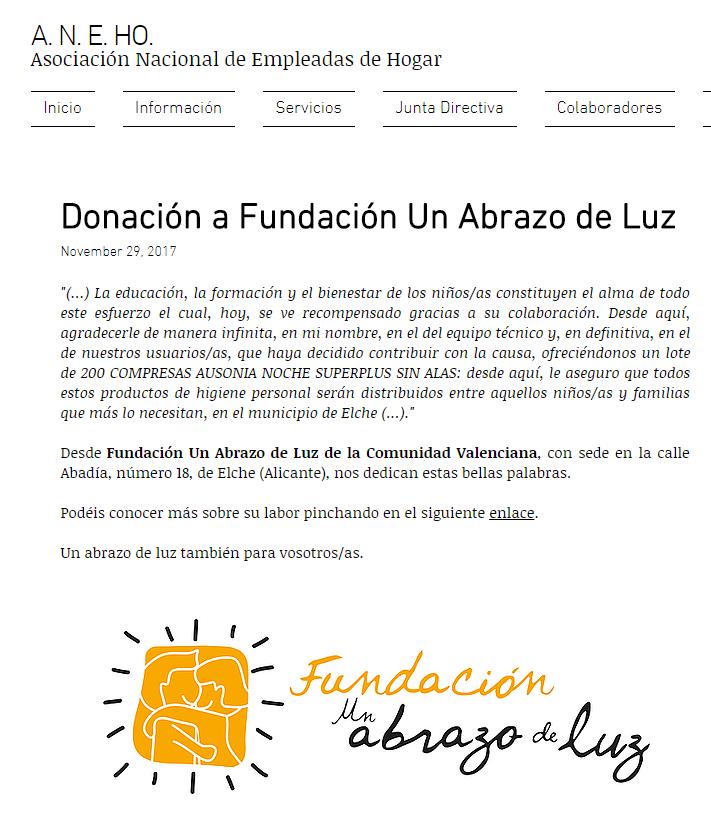 Donación a Fundación Un Abrazo de Luz